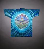 """T-shirt: """"Grateful Dead"""" - sun, waterfall, crystals, butterflies. Back: """"Spring Tour 92"""" flowers"""