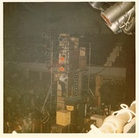 Grateful Dead at Winterland Arena: over-zealous fan clambers up the lighting/speaker column (later to be talked down by Bill Graham)