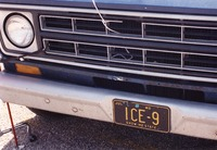 "Deadhead vehicle with ""ICE-9"" Missouri license plate, ca. 1991"