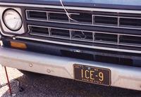 "Deadhead vehicle with ""ICE-9"" Missouri license plate, ca. 1991"