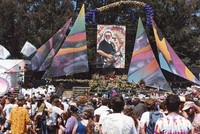 Memorial for Jerry Garcia: mourners, altar, portrait of Jerry