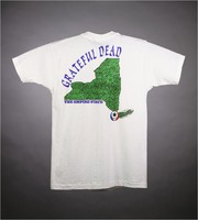 "T-shirt: ""Grateful Dead"" - skeleton jug band. Back: ""Grateful Dead / The Empire State"" - map of New York State"