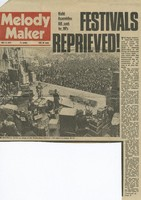 """Melody Maker (May 13, 1972): """"Festivals Reprieved"""" article with black-and-white photograph of Grateful Dead at the Bickershaw Festival"""