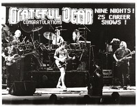 Grateful Dead: Phil Lesh, Bill Kreutzmann, Mickey Hart, Bob Weir, Jerry Garcia: double exposure with the marquee at Madison Square Garden