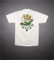 "T-shirt: stealie, shamrocks. Back: ""1991 Spring Tour"" - leprachaun, shamrocks"