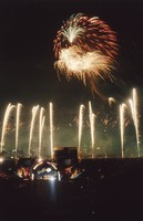 Grateful Dead at Soldier Field: distant view of the stage and fireworks, with the Chicago skyline in the background