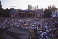 Grateful Dead at Seattle Center Memorial Stadium: distant view of the stage, and Deadheads
