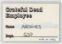 Grateful Dead 1988 -Fall Winter Tour - Access All Areas [laminate]