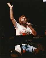 Brent Mydland waving from the stage of Bayfront Center Arena