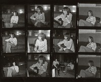 Nicky Hopkins, with an unidentified person, ca. 1975: contact sheet with 12 images