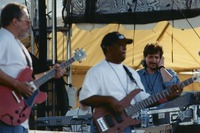 Jorma Kaukonen and Bakithi Khumalo, with an unidentified crew member in the background