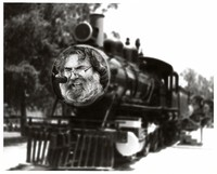 "Jerry Garcia performing ""Tennessee Jed"", superimposed on the front of a train engine"