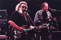Grateful Dead, ca. 1992: Jerry Garcia, with Vince Welnick in the background