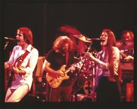 Grateful Dead, ca. 1978: Bob Weir, Jerry Garcia, and Donna Jean Godchaux, with Bill Kreutzmann in the background