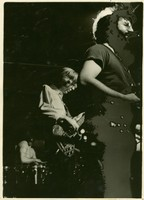 "Bill Kreutzmann, Phil Lesh, and Jerry Garcia performing, ca. 1971, with birthday greetings for Garcia from ""Kerrigan"""