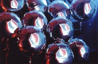 "Grateful Dead, ca. 1990s: mylar balloons with reflections of the ""stealie"" logo by Owsley Stanley and Bob Thomas"