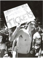 "Deadhead with a ""Who Got All The Tickets?"" sign"