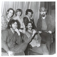 "Grateful Dead at the Hollywood Music Festival: (back) Bob Weir, Phil Lesh, Bill Kreutzmann, Ron ""Pigpen"" McKernan, (front) Jerry Garcia, Mickey Hart"