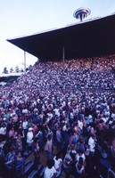 Grateful Dead at the Seattle Center Memorial Stadium: audience, with the Space Needle in the background
