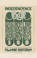 Independence Ball / Quicksilver Messenger Service, Big Brother and the Holding Company, Jaywalkers - Great Society, Sopwith Camel, Charlatans - Love, Grateful Dead, Group B  / July 1-3, 1966, Fillmore Auditorium