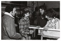 "Greg Errico, Mickey Hart, and two unidentified others at work constructing ""The Beast"""