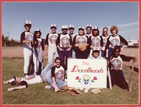 "Social Security Administration softball team ""The Deadheads"" pose in their Grateful Dead themed uniforms, summer 1981"