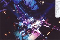 Grateful Dead: Phil Lesh, Bill Kreutzmann, Bob Weir, Mickey Hart, Jerry Garcia, Vince Welnick from the lighting catwalk
