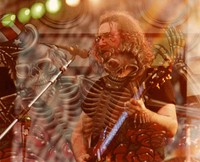 Jerry Garcia, with a double exposure of skeletons and roses