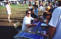 Mickey Hart helps register voters for the 2000 Presidential election at an unidentified Mickey Hart Band concert venue, Summer 2000