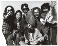 Grateful Dead publicity photo for Arista Records taken at Club Front: Jerry Garcia, Bob Weir, Phil Lesh, Bill Kreutzmann, Mickey Hart, and Brent Mydland in front