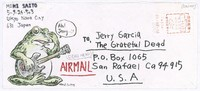 Decorated envelope with letter and artwork showing Jerry Garcia sitting on a frog