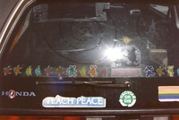 Deadhead vehicle by Golden Gate Park, with Grateful Dead artwork