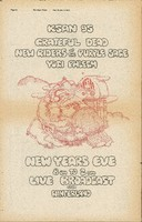 "Grateful Dead, New Riders of the Purple Sage, Yogi Phlegm - New Years Eve 8 pm-2 am - KSAN 95 - Live Broadcast from Winterland - ""Reclining Santa"". ""The Night Times"" (San Francisco), Dec. 22 [1971] - Jan. 3, 1972, p. 24."