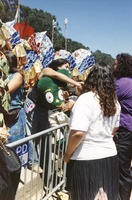 Memorial for Jerry Garcia: mourners, with a large Gumby doll