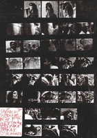 Grateful Dead, Butterfield Blues Band and Jefferson Airplane: black-and-white contact sheet with 36 images