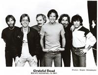 Grateful Dead publicity photograph: Brent Mydland, Phil Lesh, Bill Kreutzmann, Bob Weir, Jerry Garcia, Mickey Hart