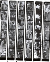 Jerry and Carolyn Garcia, Merl Saunders, Marlon Brando, Mimi Faria, Maria Muldaur, Renee LeBallister, and unidentified musicians and others, ca. 1970s: contact sheet with 36 images