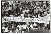 "Deadheads with a banner, ""Happy 20th Boys!"""