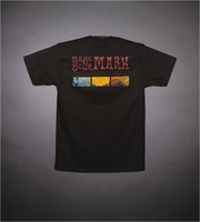 """T-shirt: """"J. Garcia - The Art of Wine - jgarciawine.com"""". Back: """"Make Your Mark - J. Garcia Wines Label Design Competition"""""""