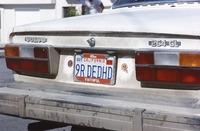 "Deadhead vehicle with ""9R DEDHD"" California license plate, with a frame, ""49er Faithful"""