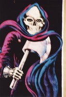 Grateful Dead merchandise: painting of hooded skeleton, holding a broad axe, that was part of a display at an unknown location