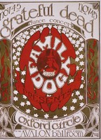 Grateful Dead, Oxford Circle - Family Dog Presents - Avalon Ballroom - November 4-5, 1966 - Lights by Roger Hillyard and Ben Van Meter: slide reproduction (by John Werner) of the poster by Alton Kelley