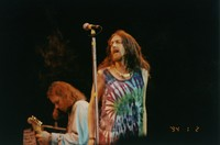Black Crowes: Chris Robinson, with Rich Robinson in the background