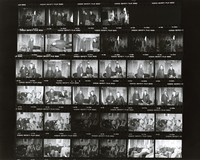 Jerry Garcia, Paul Kantner, and unidentified others, discussing the benefit for Vietnam War veterans: contact sheet with 34 images