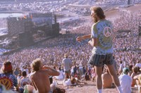 Grateful Dead, ca. 1989: distant view of the stage, with Deadheads