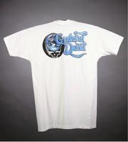 """T-shirt: Killer whales in skull. Back: """"Grateful Dead"""" - planet stealie"""
