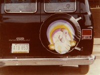 Deadhead van with artwork from the Europe '72 album cover on the spare tire cover