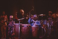 Carlos Santana, unidentified drummer, Jerry Garcia, Babatunde Olatunji, and Mickey Hart