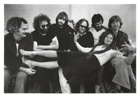 "Grateful Dead: Bill Kreutzmann, Jerry Garcia, Bob Weir, Keith Godchaux, Mickey Hart, Phil Lesh, and Donna Jean Godchaux at Sound City during the recording and mixing of ""Terrapin Station"""