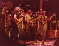 Grateful Dead: Bill Kreutzmann, Jerry Garcia, Mickey Hart (obscured), Bob Weir, and Phil Lesh